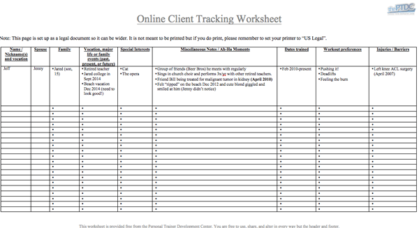 Personal Trainer Client Tracking Spreadsheet Download – Personal Fitness Worksheet